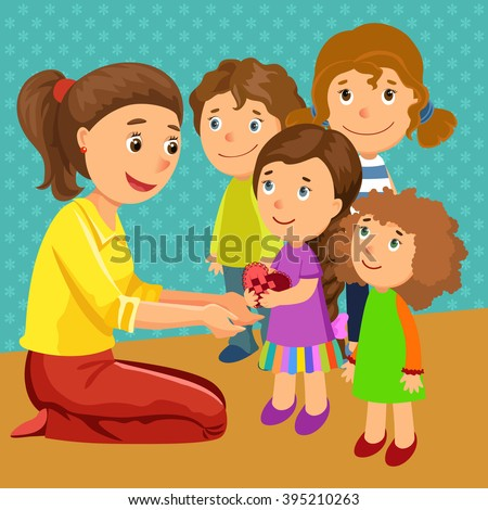 mother with children. children give a gift.