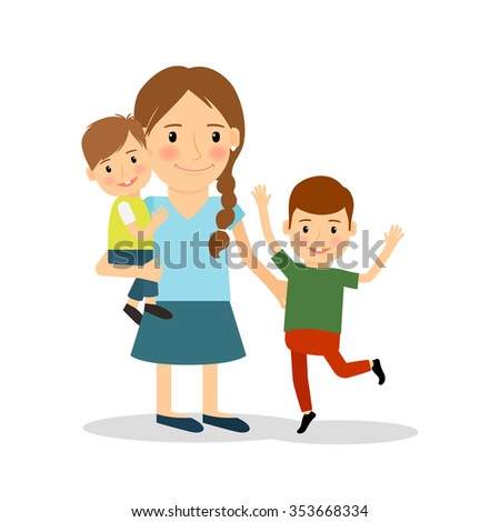 Mother with children. Young woman and two boys. happy family lifestyle. Vector illustration. - stock vector