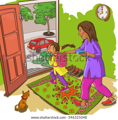 Mother with Daughter at their home. Indian family. Isolated objects. Great illustration for a school books and more. VECTOR. Editorial. Education. Advertising. Board. - stock vector