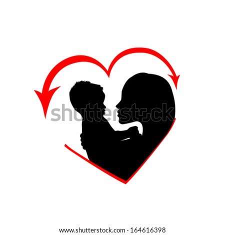 mother with her baby in the heart. Vector - stock vector