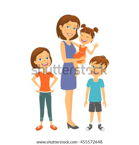 Mother with kids. Happy family. Mother with children - stock vector