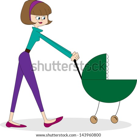 Mother with pram. Vector illustration.