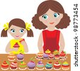 Mother with the daughter bake cupcakes. vector - stock photo