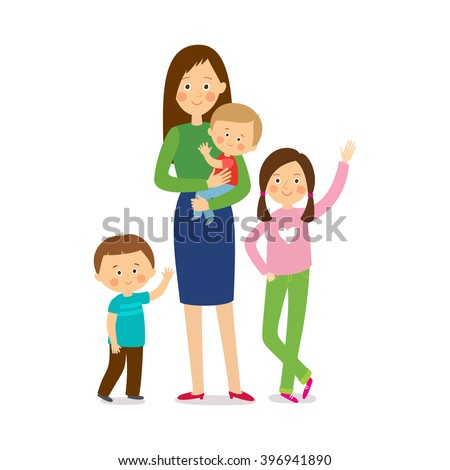 Mother with three children. Happy family. Cartoon vector eps 10  illustration isolated  on white background. - stock vector