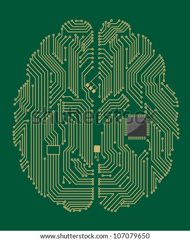 Motherboard brain on green background for technology concept. Jpeg version also available in gallery - stock vector