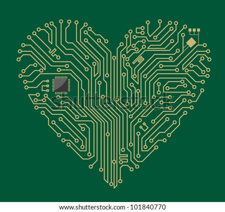 Motherboard computer heart for love concept design. Jpeg version also available in gallery - stock vector