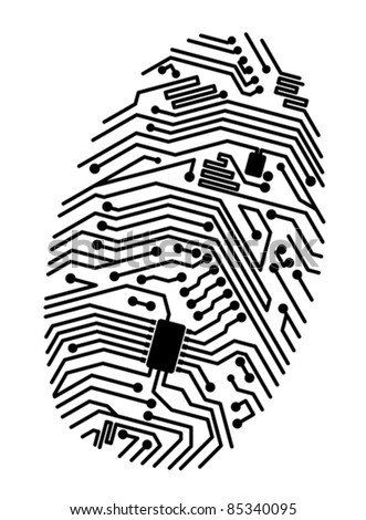 Motherboard fingerprint for security or computer concept design. Rasterized version also available in gallery - stock vector