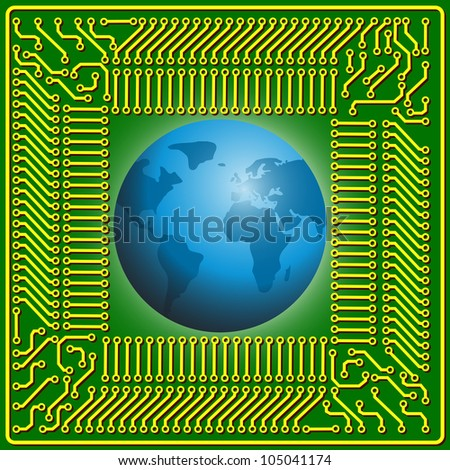Motherboard globe  background for technology concept design