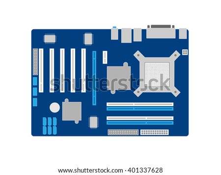 Motherboard on a blue PCB - stock vector