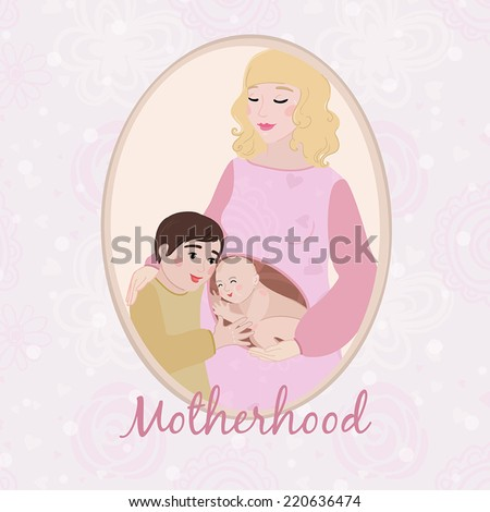 Motherhood concept card with pregnant woman and her little son hugging her baby bump - stock vector