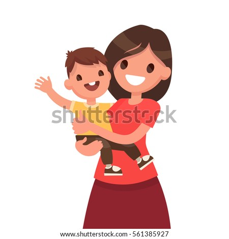 Motherhood. Mother with a baby on a white background. Vector illustration in a flat style