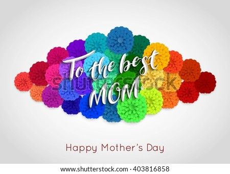 Mothers Day background with paper flowers. Mothers Day greeting card. Vector illustrator.  - stock vector