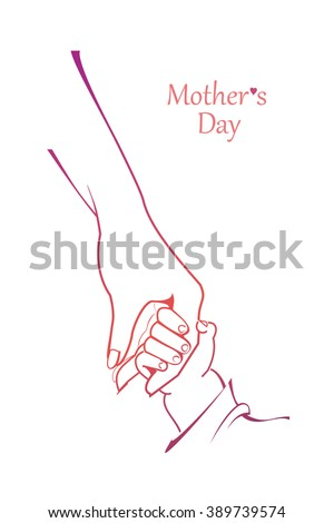 Mothers Day celebration. Mother and child hand by hand. Vector illustration.