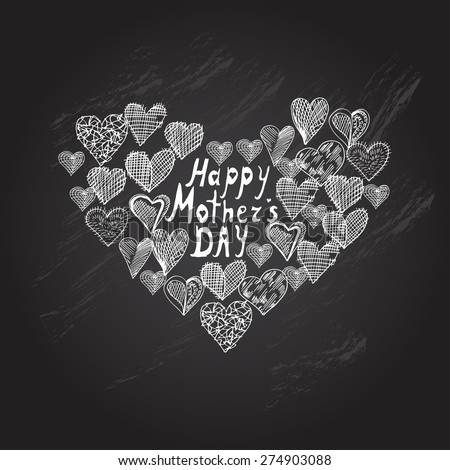 Mothers day chalkboard background with abstract heart, design element - stock vector