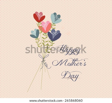 mothers day Flower Bouquets retro - stock vector