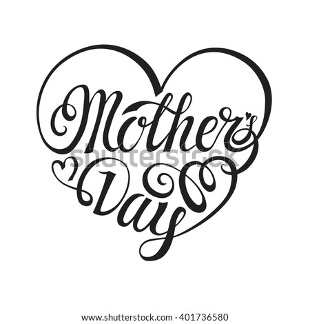 Mothers Day Greeting CardTypographic LetteringheartVector Designbackground