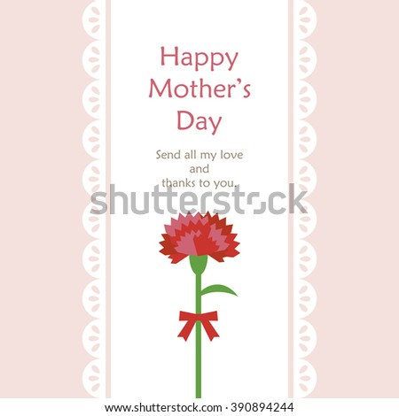 Mothers day Lace & a carnation - stock vector