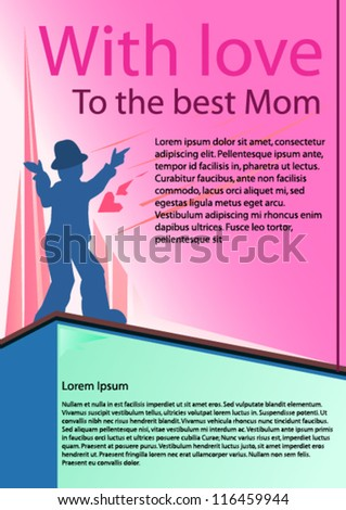 mothers day poster with a speaking little guy - stock vector