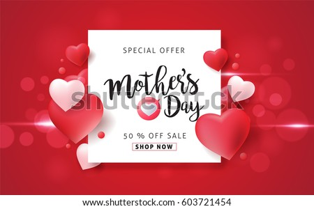 Mothers day sale background layout with Heart Shaped Balloons for banners,Wallpaper, flyers, invitation, posters, brochure, voucher discount.Vector illustration template.