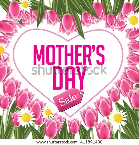 Mothers Day sale heart and tulips EPS 10 vector - stock vector