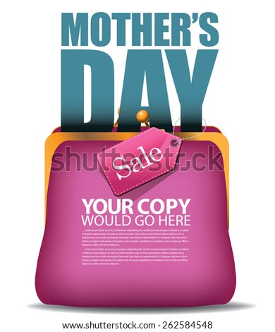 Mothers Day sale purse background EPS 10 vector illustration for greeting card, ad, promotion, poster, flier, blog, article, social media, marketing, flyer, web page, signage - stock vector
