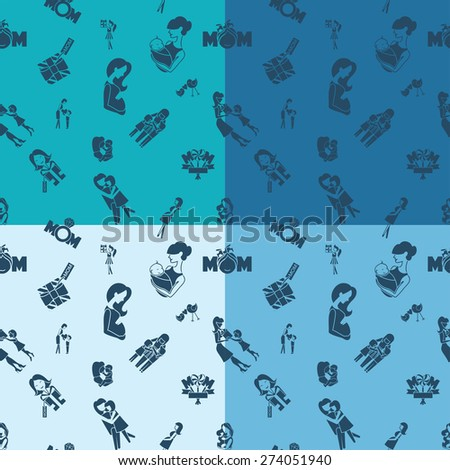 Mothers Day Seamless Pattern. Four Background in Different Colors. Vector. Clean Work Minimum Points - stock vector