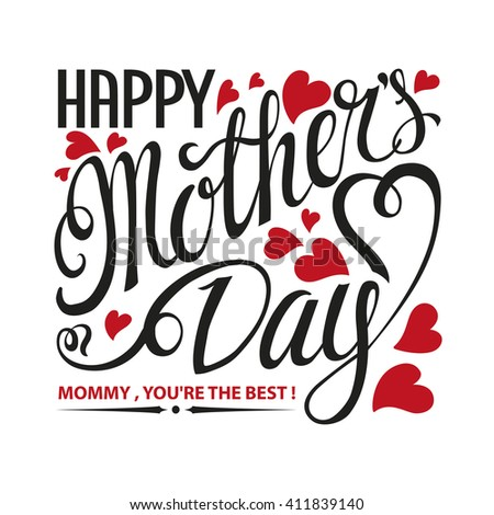 Mothers Day.Typographic card.Lettering Mother's day.Vector Design,Vintage black background,red heart.Mothers Day Holiday handwriting text.Mothers Day Invitation,poster.Holiday Square greeting card. - stock vector