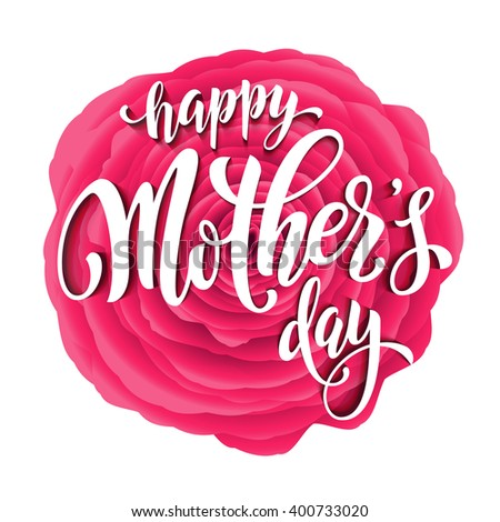 Mothers Day vector. Mother day greeting card. Pink red floral pattern background. Hand drawn lettering title. - stock vector