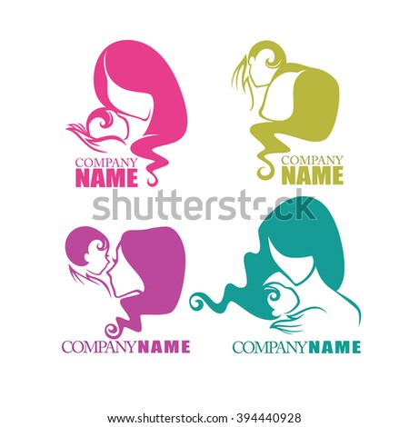 mothers love, vector collection of logo symbols and emblems - stock vector