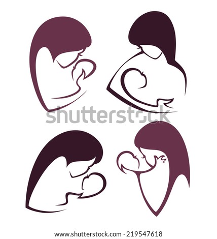 mothers love, vector collection of signs, symbols and emblems - stock vector
