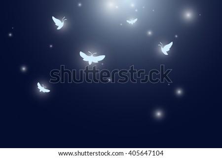 moths flying at night vector - stock vector