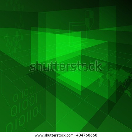 Motion graphic effect background for modern design. Abstract futuristic backdrop. High technology, information security, global communication, world connection. Green color. - stock vector