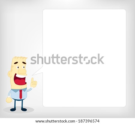 Motivated Business Man Communicating. Cartoon businessman speaking through a blank balloon. - stock vector