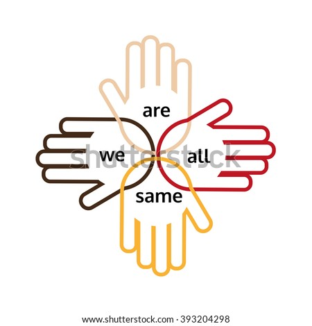 Motivated slogan on multinational unity, friendship. Hands of nations are together united. Idea on icon, logo, poster for different nations, unity, togetherness. United logo. Vector illustration - stock vector