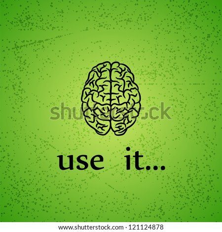 Motivation background with human brain and text - stock vector