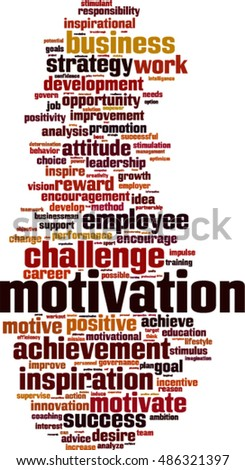 Motivation word cloud concept. Vector illustration