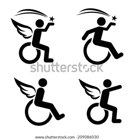 Motivational Disability Icon Set - stock vector
