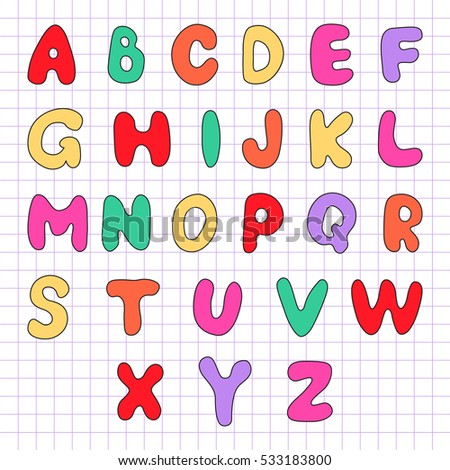 Motley alphabet on a sheet in the box. Vector illustration.