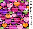 Motley seamless pattern with colorful translucent butterflies hearts and silhouettes (vector eps 10) - stock