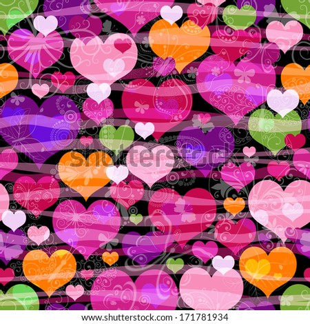 Motley seamless pattern with colorful translucent butterflies hearts and silhouettes (vector eps 10) - stock vector