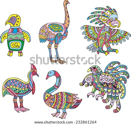 Motley swan, ostrich, penguin and other birds. Set of ethnic vector designs. - stock vector