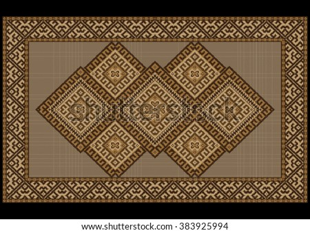 Motley vintage luxurious ethnic rug with brown and yellow shades  - stock vector