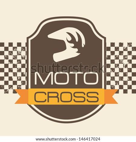 moto cross design over pink background vector illustration - stock vector