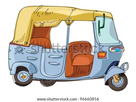 moto rickshaw - cartoon - stock vector
