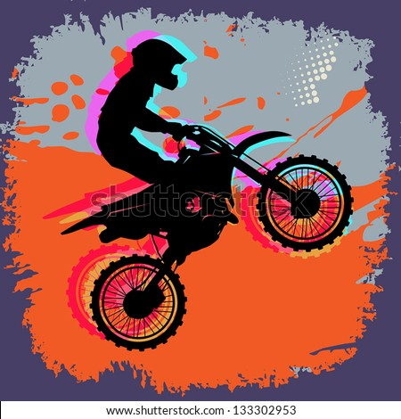 Motocross abstract background, vector illustration