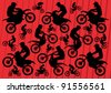 Motocross and trial motorbikes riders illustration collection background vector - stock vector