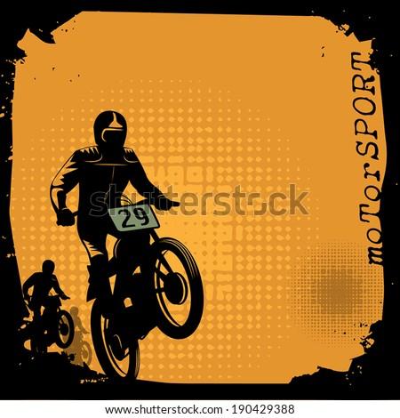 Motocross background, vector illustration - stock vector