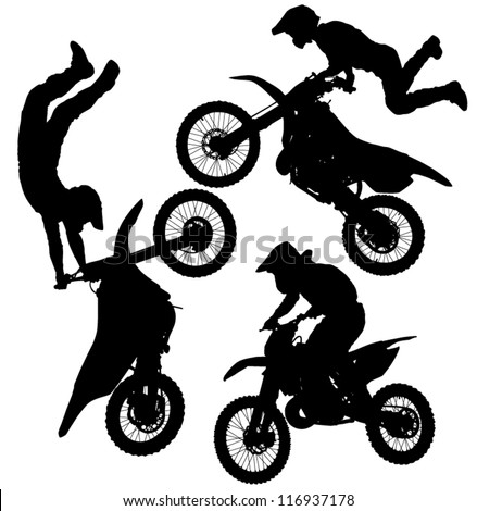 Motocross Jump Silhouette on white background - stock vector
