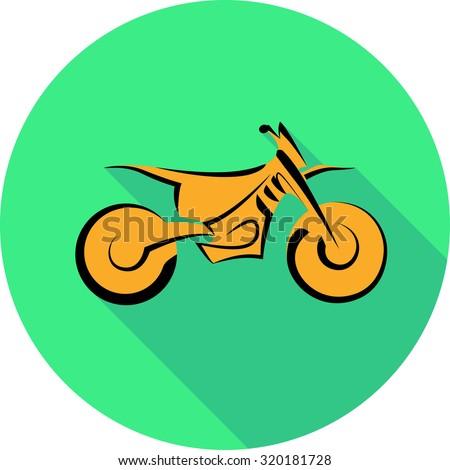 Motocross motorbike background, vector illustration in flat style - stock vector