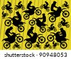 Motocross motorbikes illustration collection background - stock vector